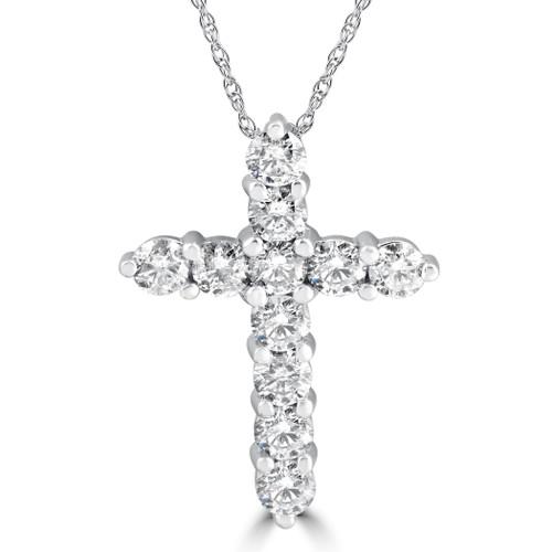 "3CT Diamond Cross Pendant 14K White Gold Womens Round Brilliant Cut 18"" Chain (H-I, I1)"
