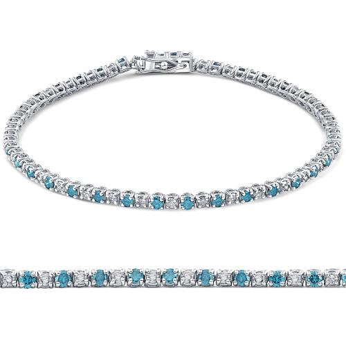1 1/2ct Blue and White Diamond Tennis Bracelet 14K White Gold (G/H, I2)