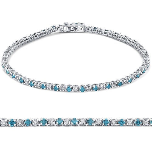1 1/2ct Blue and White Diamond Tennis Bracelet 14K White Gold (G/H, I2)
