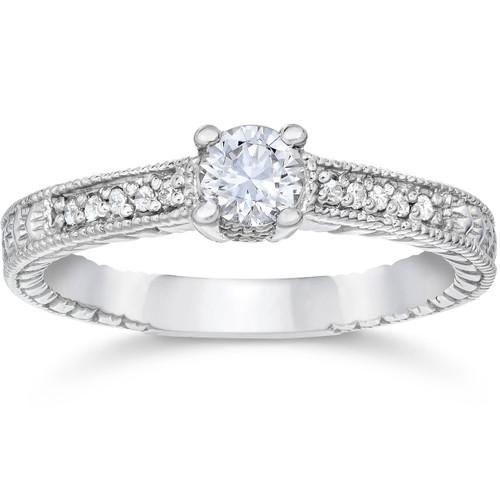 1/2ct Vintage Diamond Engagement Ring 14K White Gold (H-I, I1-I2)