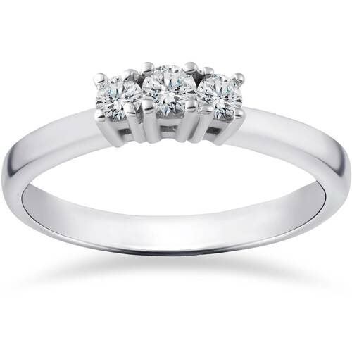 1/2ct Three Stone Lab Created Diamond Engagement Ring 14K White Gold (((G-H)), SI(1)-SI(2))