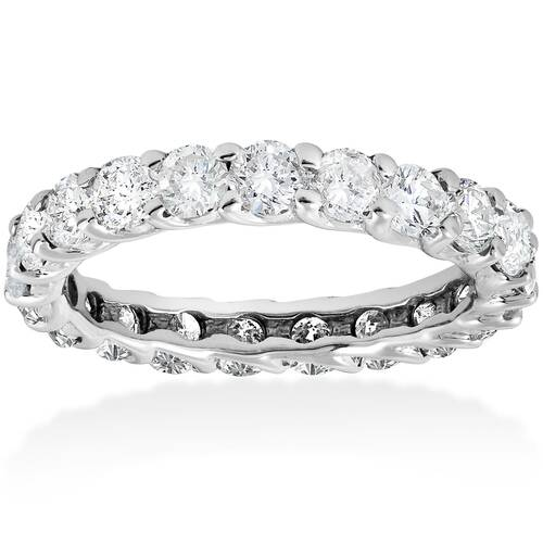 3ct Trellis Diamond Eternity Wedding Ring 14K White Gold (I/J, I2-I3)