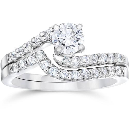 1ct Diamond Pave Engagement Bypass Wedding Ring Set Matching 14K White Gold (G/H, I1)