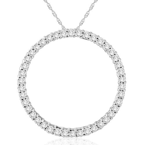 1 CT Diamond Circle Of Life Eternity Pendant 14K White Gold (G/H, I2/I3)