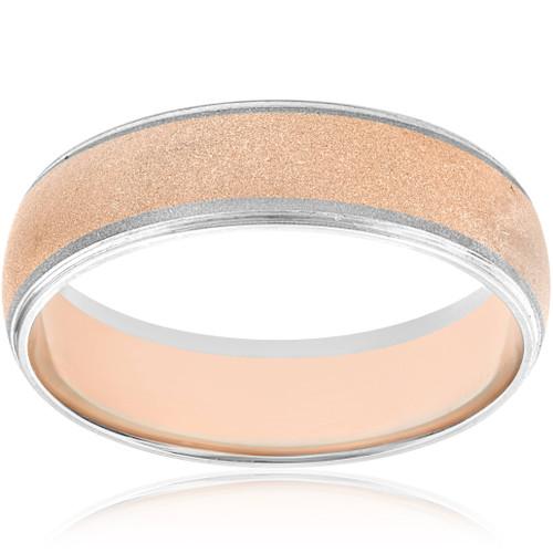 14K Rose & White Gold Two Tone Mens Brushed Wedding Ring