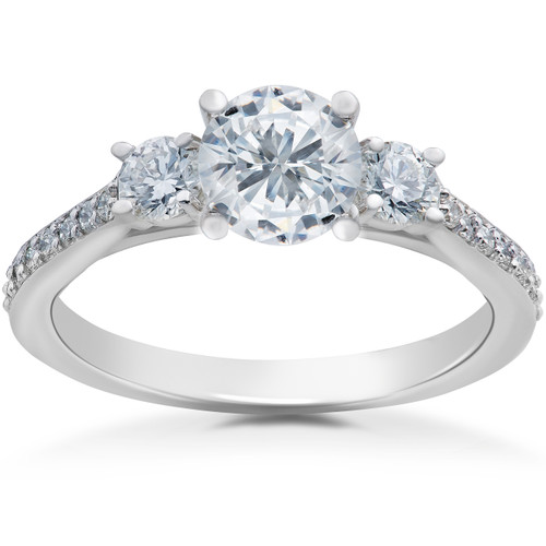 1 ct Round Diamond 3-Stone Lab Grown Eco Friendly Engagement Ring 14k White Gold (F, VS)