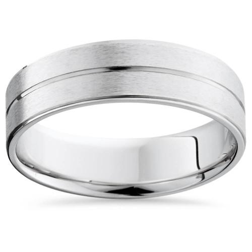 Mens 14K White Gold Flat Comfort Fit Wedding Ring Band