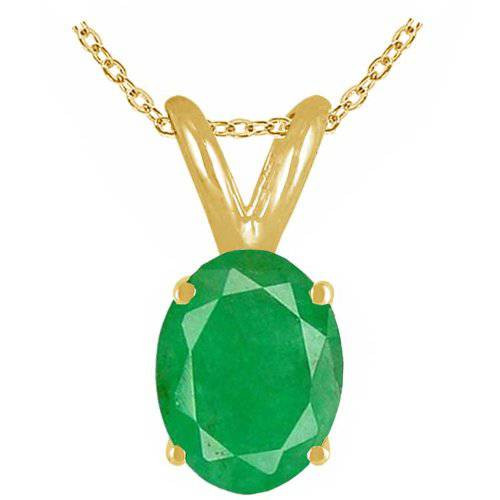1ct Genuine Oval Emerald Solitaire Pendant 14K Yellow Gold