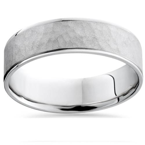 Mens 10k White Gold Hammered Comfort Fit Wedding Band Ring