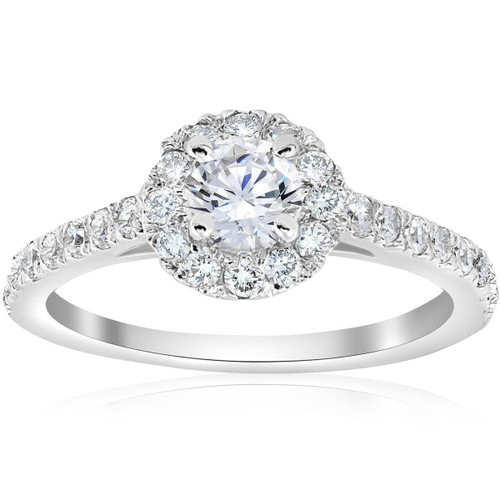 3/4ct Round Diamond Halo Engagement Ring (3/8ct center) 14K White Gold (G/H, SI2-I1)