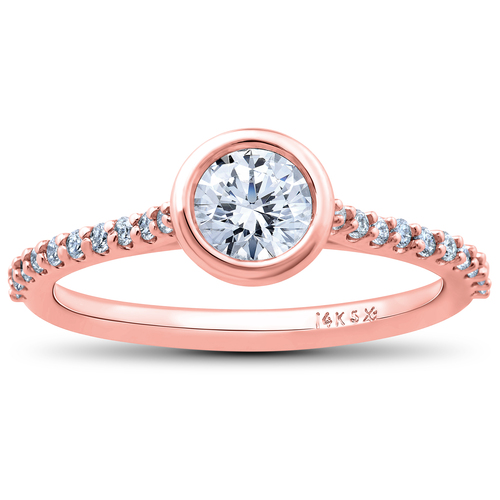 1ct Charlotte Diamond Engagement Ring 14k Rose Gold Lab Grown Bezel Round (F/G, VS2-SI1)