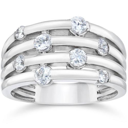 14K White Gold 1ct Real Diamond Right Hand Ring (G/H, I1)