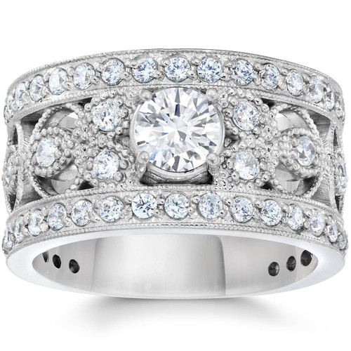 1 5/8 Carat Vintage Diamond Engagement Ring 10K White Gold (G-H, I1-I2)