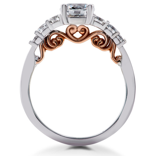 1 3/8 ct Diamond Lab Created Vintage Engagement Ring 14K White & Rose Gold (F, VS)