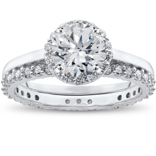 2 ct Eco Freindly Lab Created Diamond Madelyn Halo Engagement Ring & Eternity Ring (F, VS)