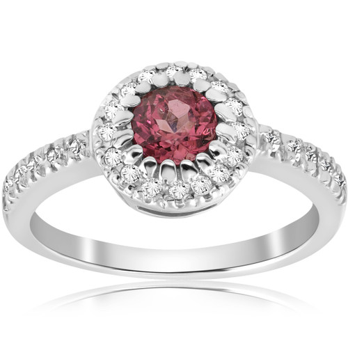 Pink Tourmaline 3/4ct Pave Halo Diamond Ring 14K White Gold Round Solitaire (G/H, I2)