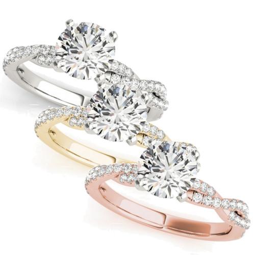 1/2ct Round Diamond Engagement Ring Infinity 14k White, Yellow, Rose Gold (H/I, I1-I2)