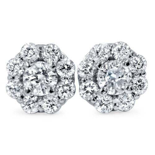 1 1/2ct Diamond Halo Studs 14K White Gold (H-I, VVS)