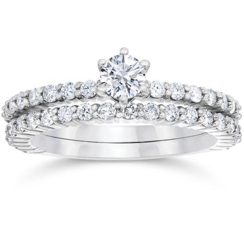 1 Carat Diamond Engagement Wedding Ring Set 10K White Gold (H/I, I1-I2)