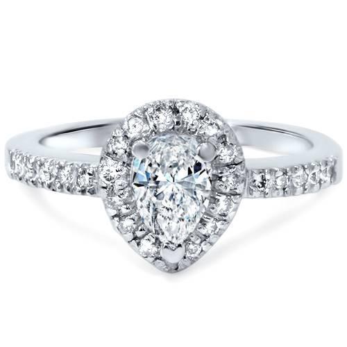 1/2ct Pear Shape Halo Diamond Engagement Ring 14K White Gold (H, I1)