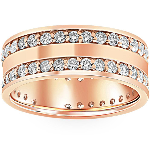 1 1/2ct Double Row Diamond Eternity Wedding Ring 14K Rose Gold Double Row Band (G/H, I1-I2)