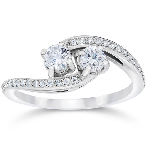 1/2 Carat 2 Stone Forever Us Diamond Engagement Ring White Gold (H/I, I1-I2)