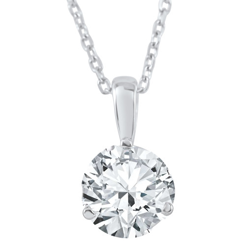 1/2 ct Solitaire Lab Grown Diamond Pendant available in 14K and Platinum (((G-H)), SI(1)-SI(2))