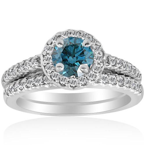 Blue Diamond Halo Engagement Ring 3/4ct Matching Wedding Ring White Gold Treated (G/H, I2)