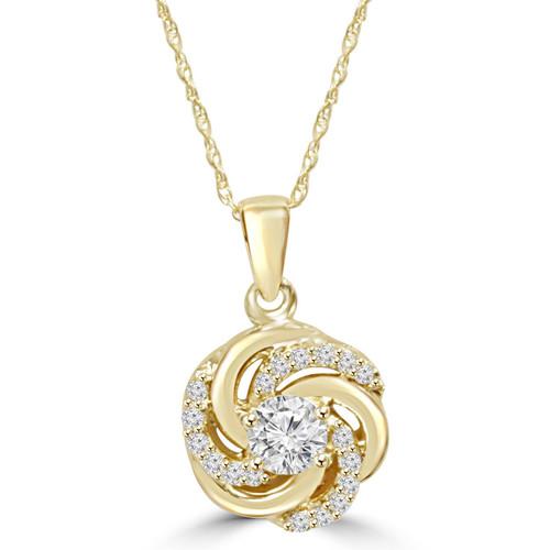 1/2CT Diamond Vintage Circle Braided Pendant 14K Yellow Gold (G/H, I1)