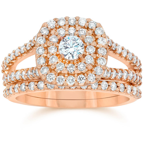 1 1/10ct Diamond Cushion Halo Engagement Wedding Ring Set 10k Rose Gold (I/J, I1-I2)