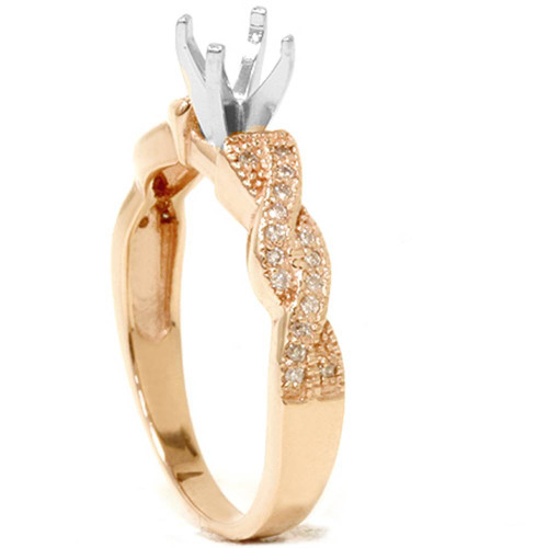 1/5ct Pave Diamond Heirloom Ring 14K Rose Gold (G/H, I1)