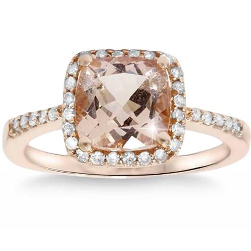 2 5/8ct Cushion Morganite Vintage Halo Engagement Ring 14K Rose Gold (G/H, SI1-SI2)