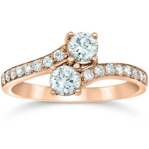 1 Carat Forever Us 2-Stone Diamond Engagement Ring 14K Rose Gold (I/J, I1-I2)