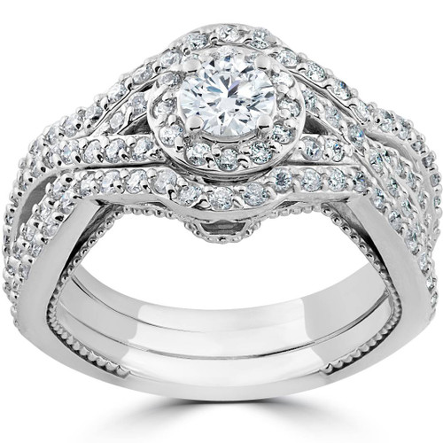 1 1/2ct Diamond Halo Engagement Trio Infinity Vintage Ring Set 10k White Gold (I/J, I1-I2)