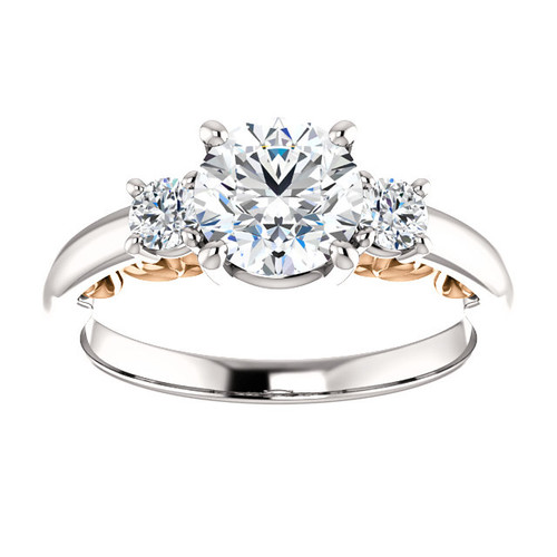 1 1/4ct Three Stone Round Diamond Engagement Ring Vintage Rose Gold 1ct Center (H/I, I1-I2)