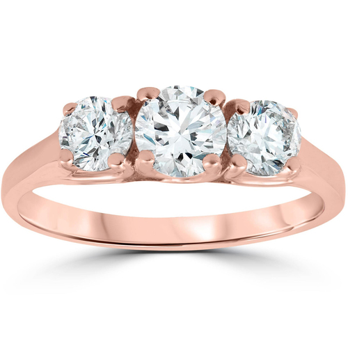 1ct Three Stone Solitaire Diamond Anniversary Engagement Ring 14k Rose Gold (G/H, I1)