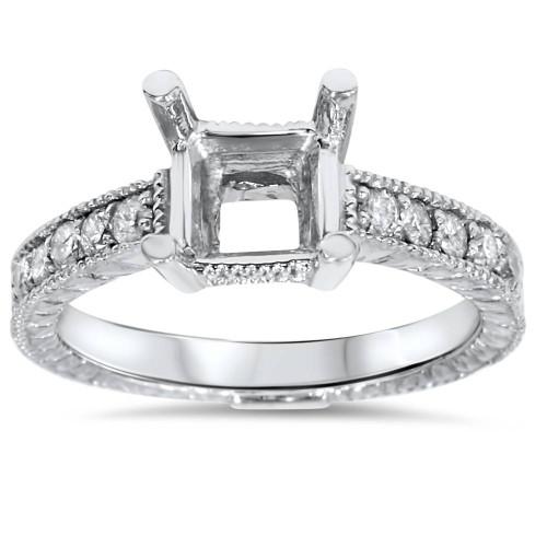 White Gold 1/4ct Princess Cut Diamond Hand Engraved Engagement (G/H, I2)