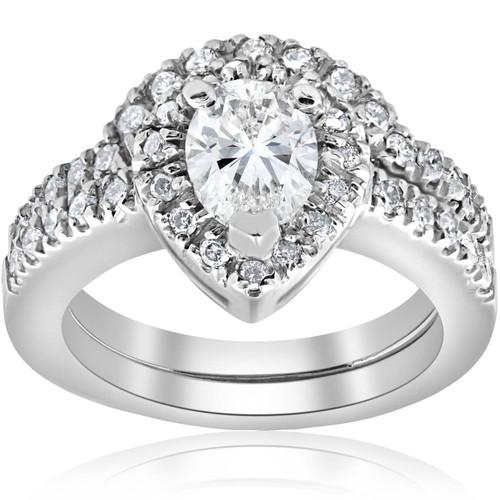 1 1/4ct Pear Shape Diamond Halo Wedding Engagement Bridal Set 14K White Gold (H, I1)