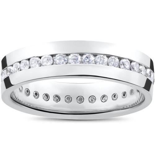 Mens 1 1/4ct Real Diamond Channel Set Eternity Ring Wedding Band Anniversary (G/H, I1)