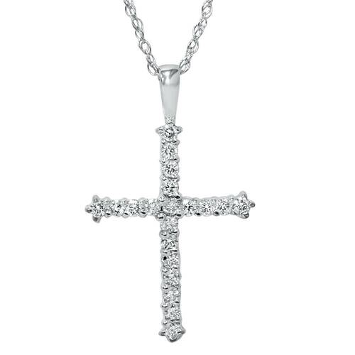 14K White Gold 1/2ct Diamond Cross Pendant Necklace (G/H, I1)