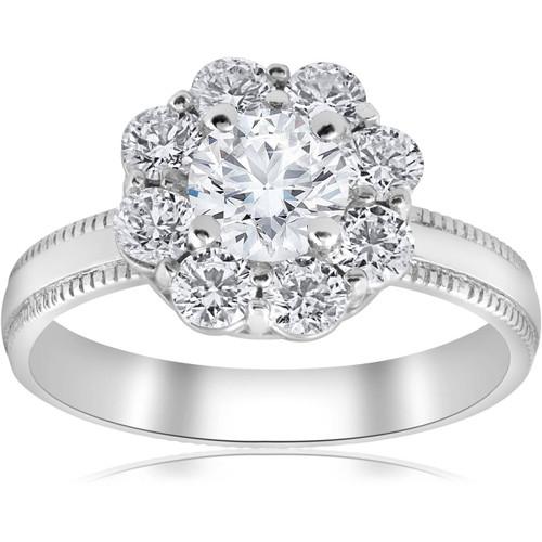 1 1/3 ct Halo Diamond Engagement Ring 14k White Gold Lab Grown (E, VS(1)-VS(2))