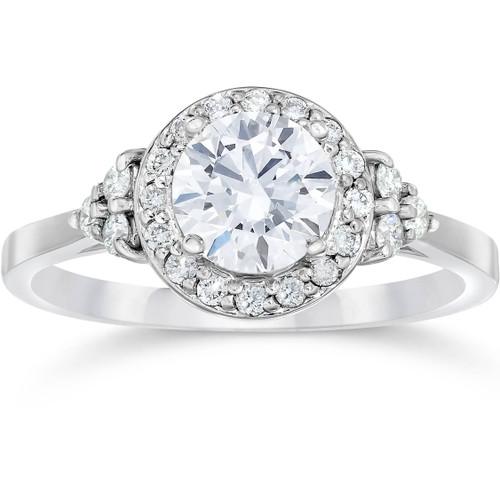 1 Carat Halo Vintage Diamond Engagement Ring 14K White Gold ((G-H), SI(1)-SI(2))