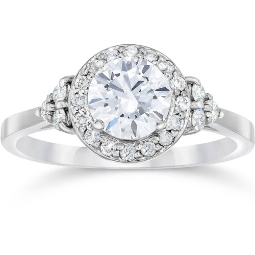 1 Carat Halo Vintage Diamond Engagement Ring 14K White Gold ((G-H), SI(1)-SI(2))