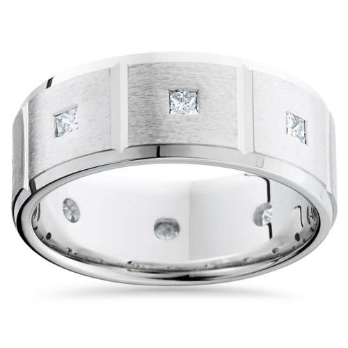 Mens Princess Cut Diamond Wedding Ring Comfort Fit Brushed Bevel 14K White Gold (G/H, SI)