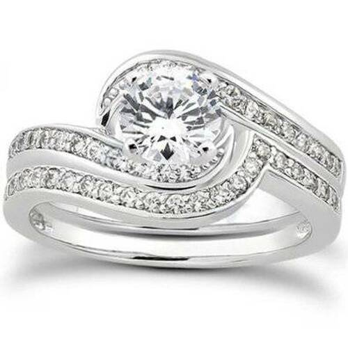 7/8ct Diamond Wedding Ring Set 14K White Gold (G/H, I1)