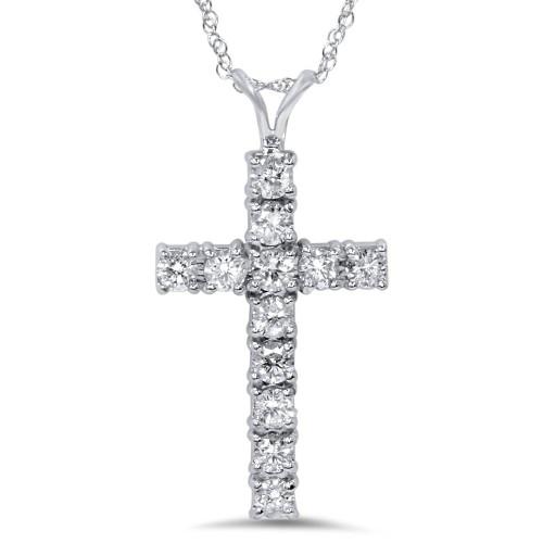 "1 Ct Diamond Cross Pendant Necklace 18"" 14k White Gold (G/H, I1)"