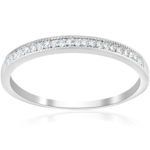 1/8ct Diamond Wedding Ring 14K White Gold (J/K, I2)