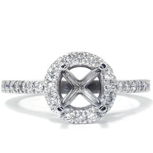 3/8ct Halo Engagement Ring Setting 14K White Gold (G, VS)