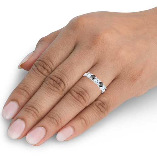 1 carat Treated Black & White Five Stone Diamond Ring 14K White Gold (G/H, I1)