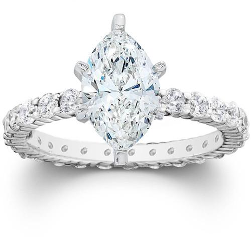 2 1/2ct Marquise Enhanced Diamond Engagement Eternity Ring 14K White Gold (G/H, I1)